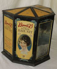 Antique Country Store Display Advertising Tin for Women Hair Nets