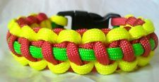 Paracord Bracelet Green Yellow Red Rasta Bob Marley Inspired Thin Line