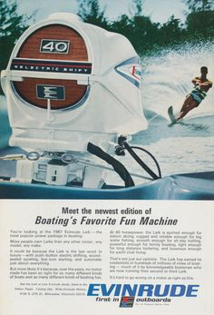 1967 Evinrude Lark Motor Ad Boating Water Skiing Photo Vintage Advertising Print Wall Art Decor Outboard Motors Outboard Outboard Boat Motors
