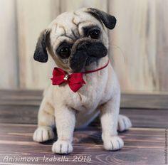 Needle Felted Art: Snowmans and Animals Needle Felted Animals, Felt Animals, Cute Baby Animals, Needle Felting, Cute Pugs, Cute Dogs And Puppies, Baby Pugs, Felt Dogs, Pug Love