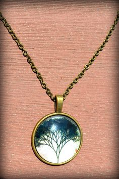 Tree Glass Pendant Jewelry Bronze Plate Tree by BeeMadeDesign