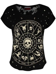 Black Skull Zodiac Shirt - $37 - Casual Goth Outfit Ideas - http://amzn.to/28XsynS