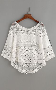 Crochet Lace Boat Neckline Dip Hem Top