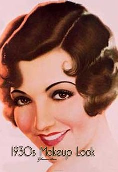 1930s make up look long extended eyebrows red lipstick dar eyebrows