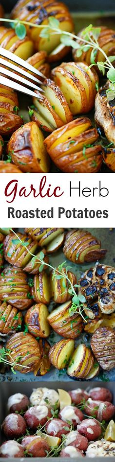 Garlic Herb Roasted Potatoes - baked garlic potatoes with herb, olive oil butter and lemon. The best homemade roasted potatoes recipe ever | rasamalaysia.com Recipes Potatoes Side Dishes, Easter Recipes Potatoes, Side Dishes With Ham, Ham And Potato Recipes, Roasted Potato Recipes, Vegetable Dishes, Vegetable Recipes, Food Dishes, Butter Garlic Potatoes