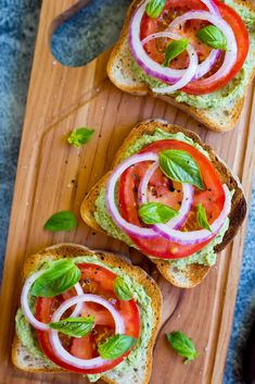 Basil Lemon and White Bean Toasts with Tomato #healthy #snack #toast