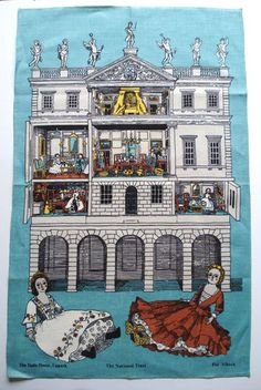 """This is a vintage 1970s """"The Dolls House, Uppark"""" tea cloth, designed by Pat Albeck for the National Trust"""