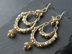 Boho Gold Chandelier Hoop Tiered Earrings 14K by YogaChickJewelry