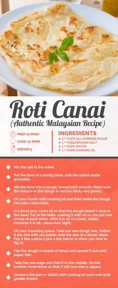 Malaysia's favorite Roti - Roti Canai Recipe, add dipvthis in a curry sauce 😍😍😍 HEAVEN! Indian Food Recipes, Asian Recipes, Vegetarian Recipes, Cooking Recipes, Asian Desserts, Malaysian Cuisine, Malaysian Food, Malaysian Recipes, Malaysian Roti Recipe