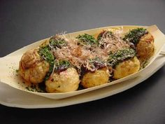 Takoyaki! Grilled octopus balls with chopped green laver