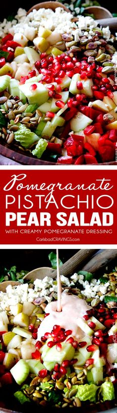 Perfect for THANKSGIVING!  This salad is SO addictingly delicious! Sweet pomegranate arils, pears, apples, crunchy cucumbers and peppers complimented by salty roasted pistachios and pepitas all doused in Creamy Pomegranate Dressing!