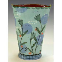 Two Patterned Two Background Vase by Nancy Gardner Ceramics