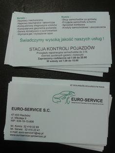 Wizytówki dla firmy Euro-Service z Raciborza. Pozostałe projekty wizytówek można znaleźć tu http://www.13design.pl/realizacje-wizytowki/