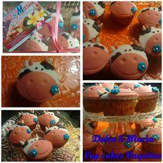 Temática Vaquitas. Cup cakes en Fondant. By Dulce&Maria
