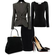 striped blazer with black blouse and skirt