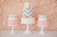 white grey pink chevron cake by https://www.facebook.com/Leo.and.Bella
