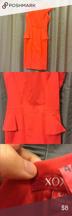 XOXO Orange/Coral colored peplum waist midi dress See the second and third pics for a better look at the color. This is an adorable dress only worn a handful of times. It's been dry cleaned but the belt it came with is missing, priced low to sell. You could put any thin belt in the loops for great mixing and matching. Fabric has a little stretch. It's 5/6 juniors so like a 4 in women's sizes. Perfect dress for summer!  XOXO Dresses Midi