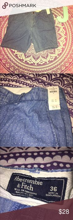 "Abercrombie Fitch Mens Blue White Shorts NWT Abercrombie and Fitch Men's Shorts. Blue/White dotted. Size 36. New with tags. Waist: 36"" Inseam: 8.5"" Length: 19"" Abercrombie & Fitch Shorts Flat Front"