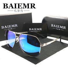 3aba0892d6 Baiemr gafas De Sol hombres gafas grandes del marco Mens Sunglasses marca  diseñador recubrimiento Sunglass moda