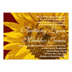 Country Sunflower Rustic Wedding Invitations with barn red in the background.