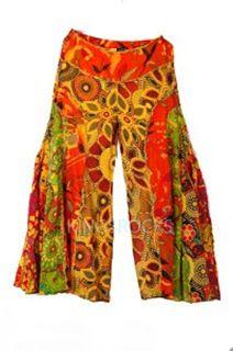 Flared Orange Floral Hippy Style Pants