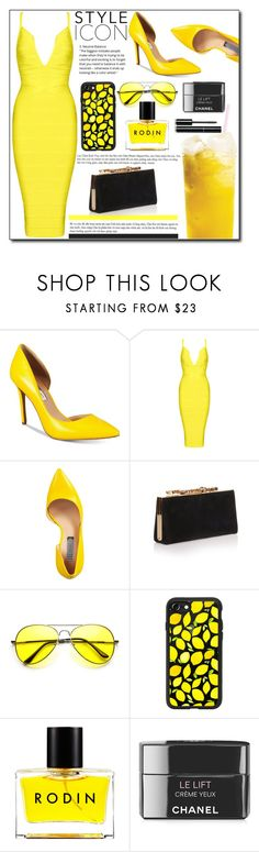 """Yellow Dress !"" by emapolyvore ❤ liked on Polyvore featuring INC International Concepts, Jimmy Choo, Casetify, Rodin, Chanel, yellow and yellowdress"