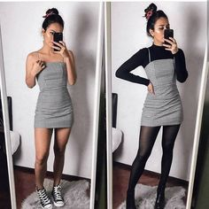 Black Striped Dress - Outfits for Work - Winter Outfits for Work Mode Outfits, Grunge Outfits, Plaid Outfits, School Outfits, 6th Form Outfits, Grunge Clothes, Grunge Dress, College Outfits, Sweater Outfits
