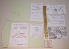 DIY Wedding invitations. Mint, peach, gold.