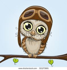 Cute cartoon owl in a pilot hat is sitting on a branch - stock vector