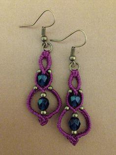 Macrame earrings with beads, wine-dark blue