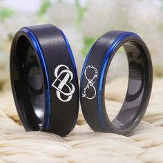 Black And Blue Tungsten Couples Ring With Infinity Heart & Always & Forever Symbol Black And Blue Tungsten Couples Ring With Infinity Heart & Always & Fo – shopNspot Silver Claddagh Ring, Claddagh Rings, Couple Jewelry, Couple Rings, Unique Gifts For Couples, Masonic Jewelry, Victoria Kay, Infinity Heart, Titanium Rings
