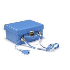 Grace Small Box Saffiano Sky w/White Edge — Mark Cross - America's First Luxury Leather Goods Brand