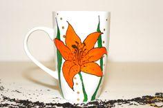 Painted Ceramic mug - Coffee Mug - handpainted mug - handdecorated mug - painted tea cup - painted coffee mug - mug with Orange Lilies - mug