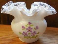 1970s Fenton Violets in the Snow 4 Silver Crest