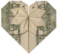 New Moon in Libra: Like Origami > Dollar Bill > Heart > Star Money Origami Heart, Origami Love Heart, Origami Star Box, Origami Stars, Folding Money, Origami Folding, Origami Easy, Paper Folding, Origami Paper