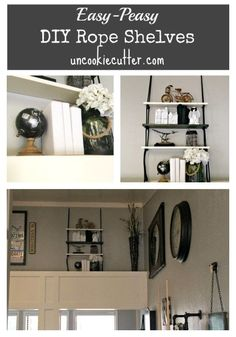 Stop by UncookieCutter.com for the tutorial on how to make these quick and easy rope shelves.