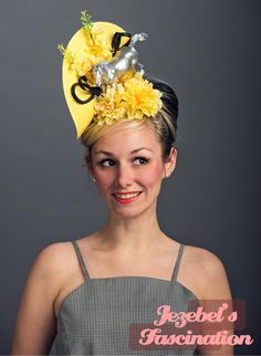 Items similar to Kentucky Derby Horse Unique Ascot Fascinator Conceptual Phoenician Filly Light Yellow Vintage Floral Mustang Hatinator Race Hat Headpiece on Etsy Floral Fascinators, Fascinator Hats, Headpiece, Flower Headdress, Vintage Mustang, Derby Horse, Dapper Day, Derby Day, Kentucky Derby Hats