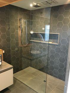 Like the idea of cuting big tiles for the floor** Attic Bathroom, Upstairs Bathrooms, Bathroom Renos, Bathroom Renovations, Small Bathroom, Bathroom Design Luxury, Beautiful Bathrooms, Bathroom Inspiration, Floor