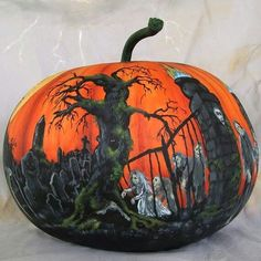 Painted pumpkins are perfect for anyone to express their creative side and far less messy than carving one. Get some inspiration for your painted pumpkins with these awesome painted pumpkin inspiration. Halloween Diorama, Halloween Jack, Holidays Halloween, Halloween Pumpkins, Halloween Crafts, Happy Halloween, Halloween Decorations, Halloween Ideas, Halloween Queen