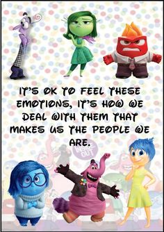 19 Super-Interesting Facts About Pixars Inside Out Great choice of resources - particularly good for Social Emotional Learning Zones Of Regulation, Emotional Regulation, Emotional Development, Inside Out Emotions, Feelings And Emotions, Feelings Chart, Classroom Behavior, Classroom Themes, Physics Classroom