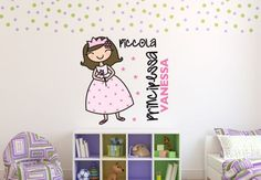 Adesivi murali - Adesivo murale + Name Piccola Principessa