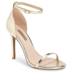 Women's Topshop Rosalie Ankle Strap Sandal (680 MAD) ❤ liked on Polyvore featuring shoes, sandals, gold, topshop sandals, gold sandals, stiletto sandals, ankle strap sandals and ankle strap shoes