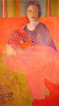 ⊰ Posing with Posies ⊱ paintings & illustrations of women & children with flowers - Elisabeth Jonkers