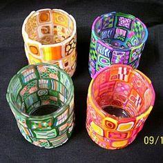 Polymer clay votive holders.