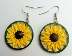 Bespoke silver/ stainless steel handmade quilling earring, sunflower, yellow, green, quilling paper, quilling art and craft.