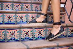 Perfect for summer: espadrilles with leather ankle ties (worn by Song of Style)