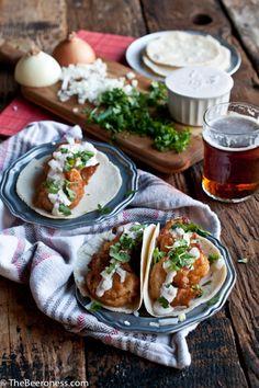 Beer Battered Shrimp Tacos with Chipotle Lime Crema. Best homemade tacos I've ever had.