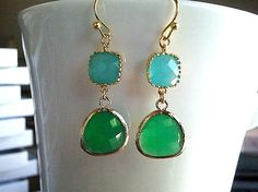 Palace Green Summer Gold Earrings by LaLaCrystal on Etsy, $26.00