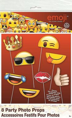 Create some hilarious photos with our #Emoji Photo Booth #Props. The photo props come in a pack of 8 and are attached to white plastic sticks. Quantity Per Pack: - 8 Emoji Photo Booth Props.