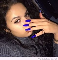 Electric blue long nails